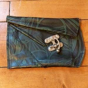 Women's green clutch